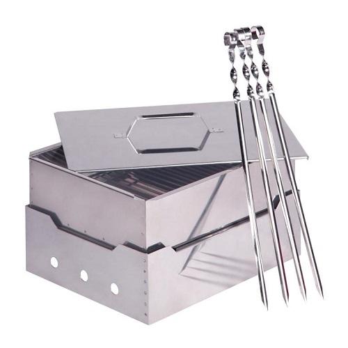 Коптильня и гриль портативный комплект с шампурами нержавеющая сталь 0,8/1,0мм в сумке
