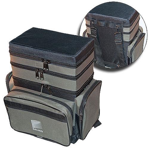 Ящик-сумка-рюкзак рыболовный зимний Salmo пенопластовый 3-х ярусный B-3LUX