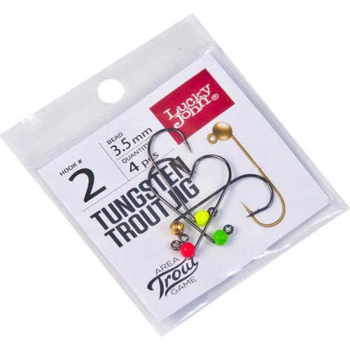 Джиг-головки Lucky John Area Trout Game вольфрамовые 03.5мм крючок 002 4шт. (цвет: Gold, Red, Green, Yellow)