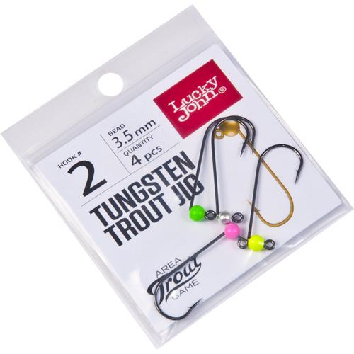 Джиг-головки Lucky John Area Trout Game вольфрамовые 03.5мм крючок 002 4шт. (цвет: Silver, Pink, Green, Yellow)