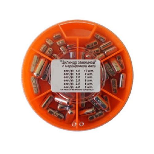 Грузила Цилиндр 6 секц. зажимной с маркировкой веса 1,0-4,0г 089 набор