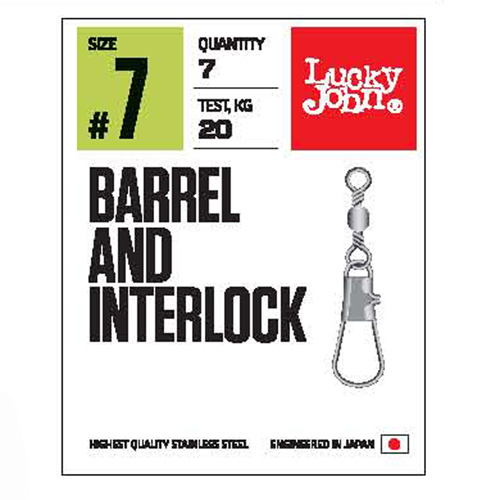Вертлюги c застеж. LJ Pro Series BARREL AND INTERLOCK Black 010 7шт.